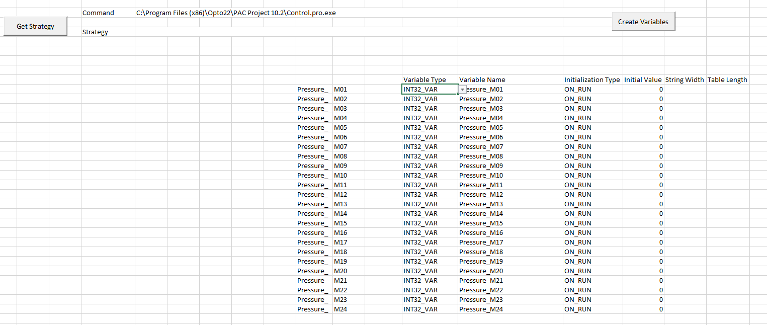 Excel Macro: Add Variables to strategy - Code Samples and